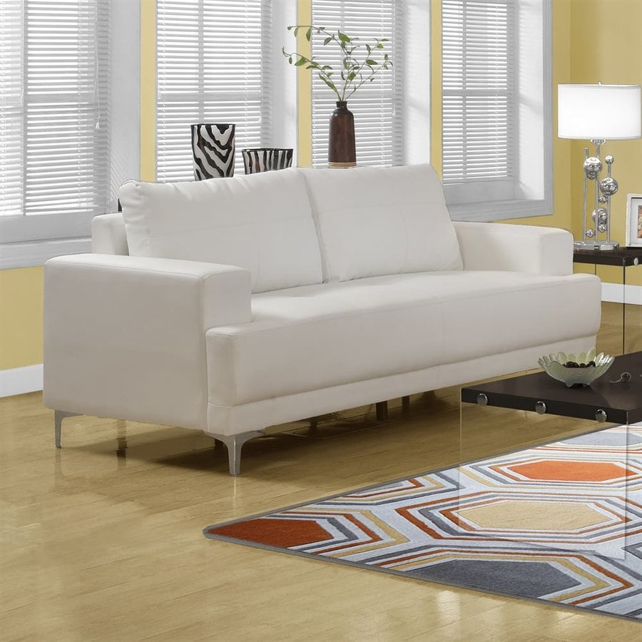 Monarch Specialties Modern Ivory Faux Leather Sofa
