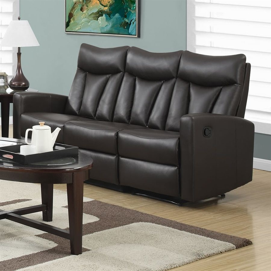Monarch Specialties Modern Brown Faux Leather Reclining Sofa