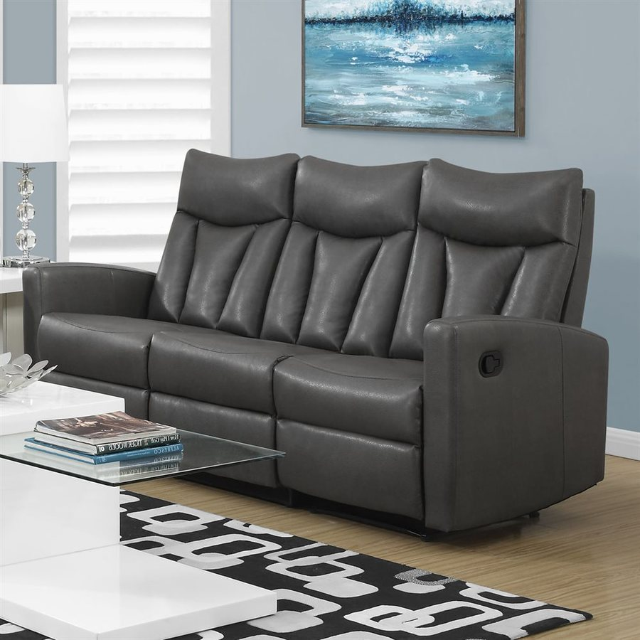 shop monarch specialties modern charcoal grey faux leather reclining sofa at. Black Bedroom Furniture Sets. Home Design Ideas