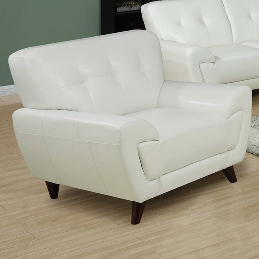 Monarch Specialties Modern White Faux Leather Club Chair