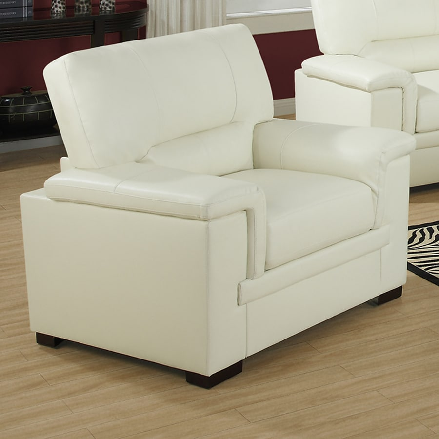 Monarch Specialties Modern Ivory Faux Leather Club Chair