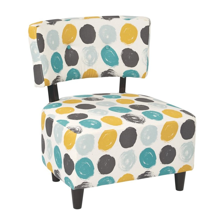 Office Star Set Of 1 Boulevard Eclectic Brushed Dot Peacock Cotton Accent Chair