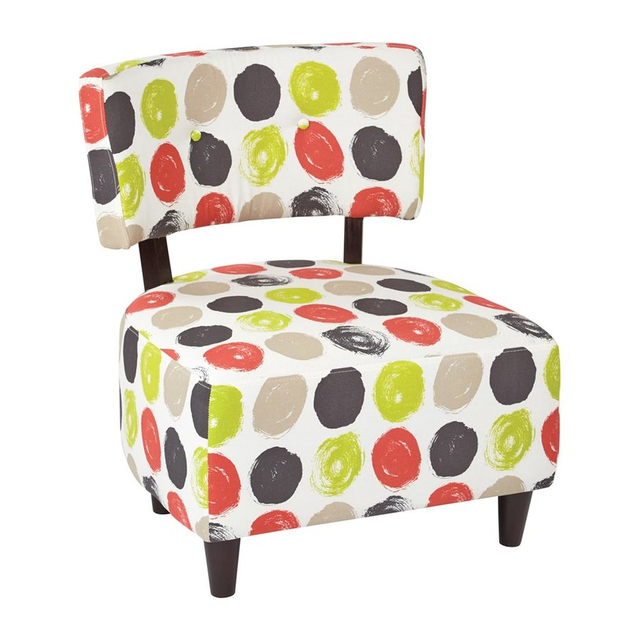 Office Star Boulevard Eclectic Brushed Dot Poppy Accent Chair