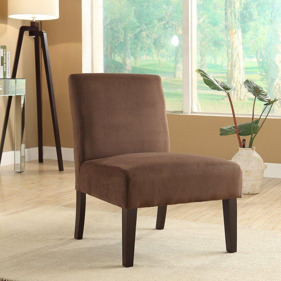 Office Star Laguna Casual Chocolate Velvet Slipper Chair