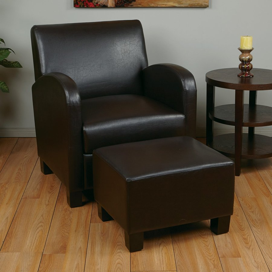 Office Star Set Of 1 Metro Casual Espresso Faux Leather Club Chair