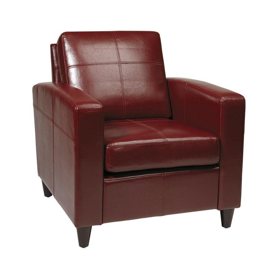 Office Star Venus Casual Crimson Faux Leather Club Chair