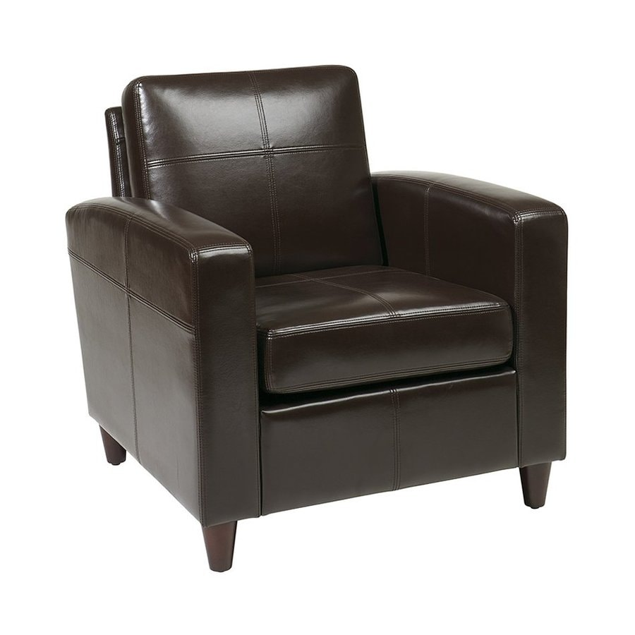 Office Star Set Of 1 Venus Casual Espresso Faux Leather Club Chair