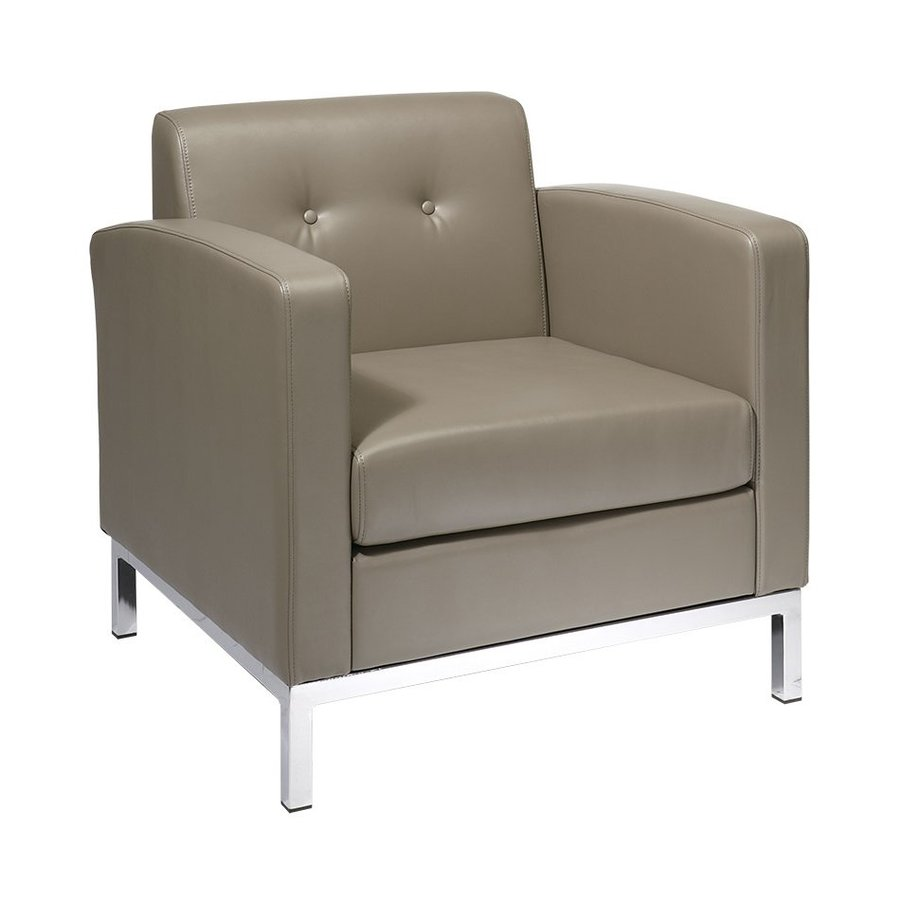 Office Star Wall Street Modern Smoke Faux Leather Club Chair