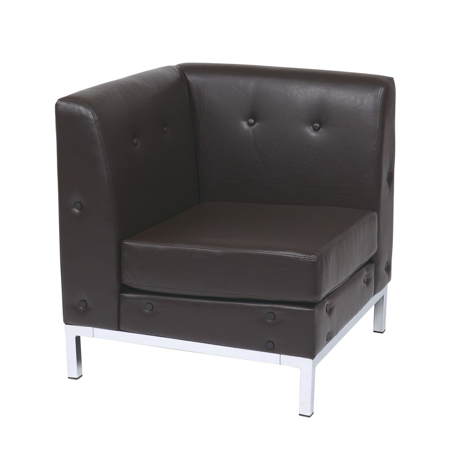 Office Star Wall Street Modern Espresso Faux Leather Corner Chair