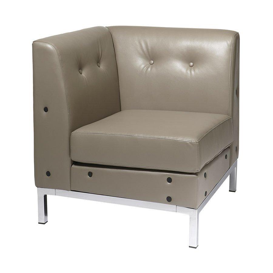 Office Star Wall Street Modern Smoke Faux Leather Corner Chair