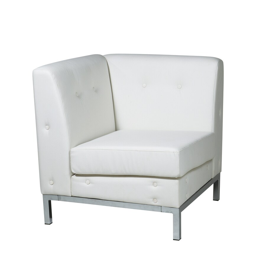 Office Star Wall Street Modern White Faux Leather Corner Chair