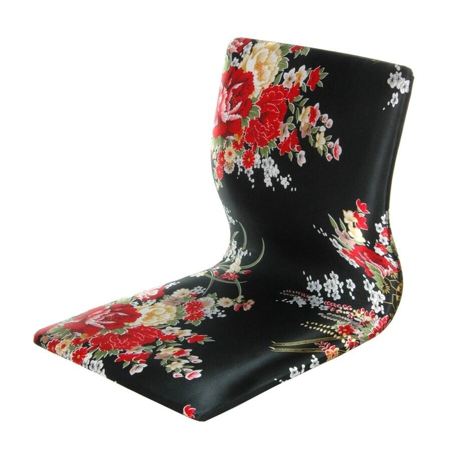 Oriental Furniture Tatami Meditation Asian Black/Red Accent Chair
