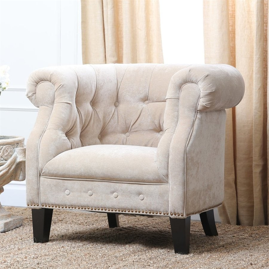Pacific Loft Camber Casual Cream Linen Chesterfield Chair