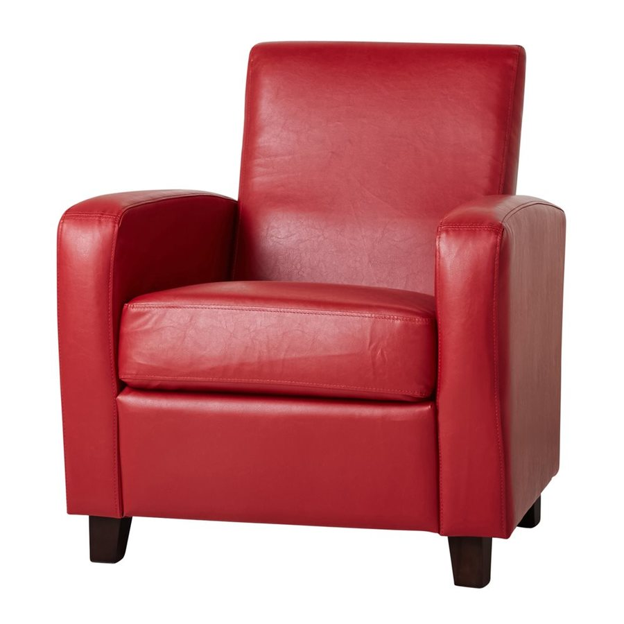 Pacific Loft Mercer Casual Red Faux Leather Club Chair