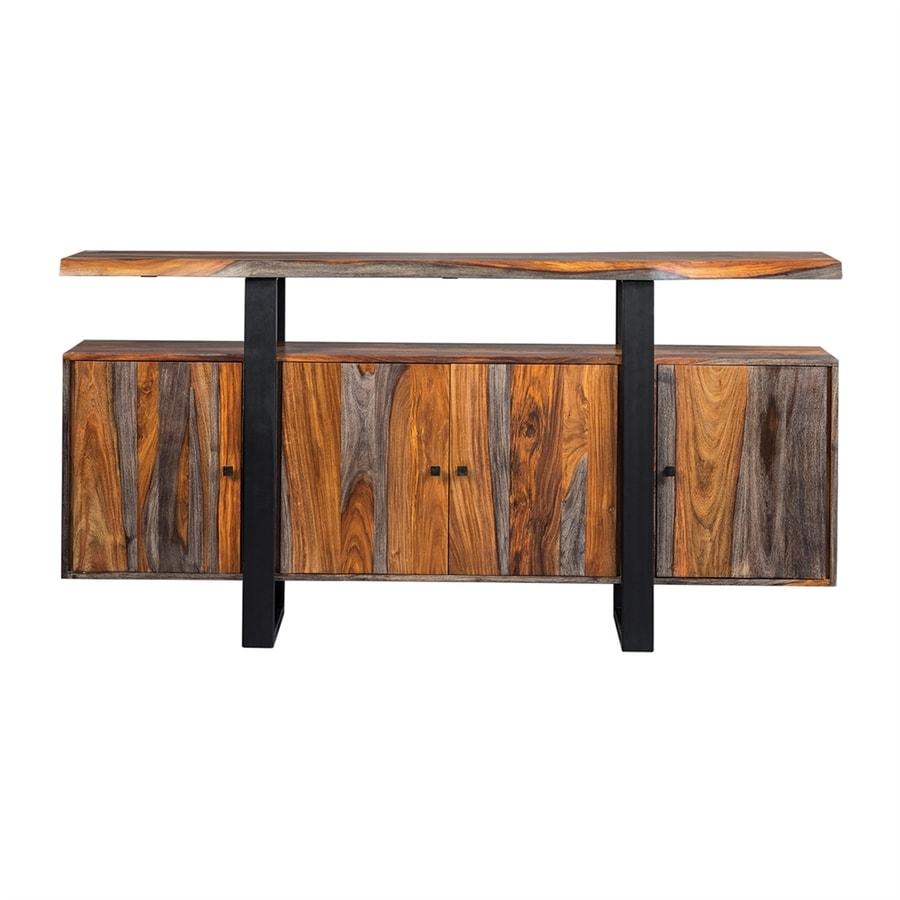 shop scott living grey sheesham black metal sideboard at. Black Bedroom Furniture Sets. Home Design Ideas