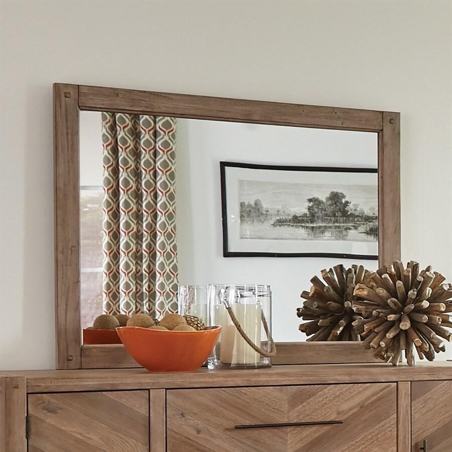 Scott Living White Washed Natural Polished Vanity Mirror