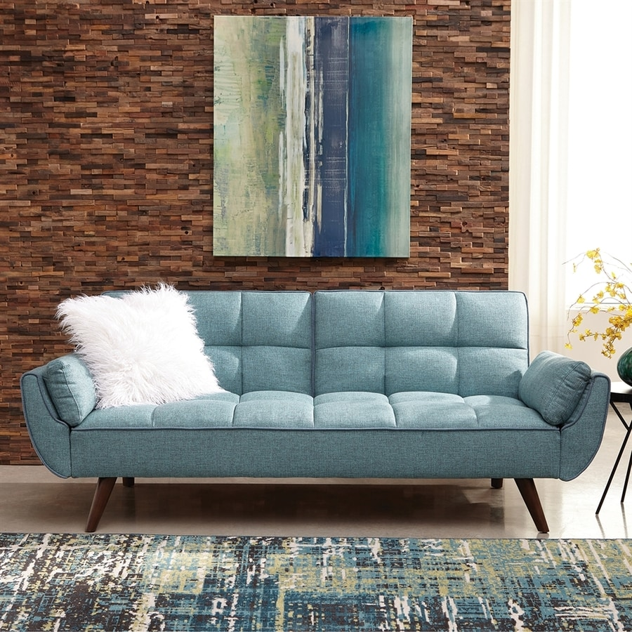 scott living turquoise blue sofa bed