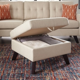 living room table with storage. Scott Living Midcentury Espresso Linen Storage Ottoman Shop Room Furniture at Lowes com