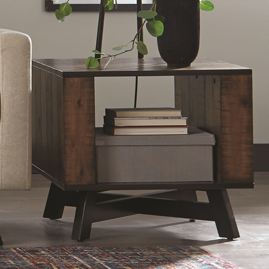 Scott Living Tobacco Asian Hardwood Square End Table