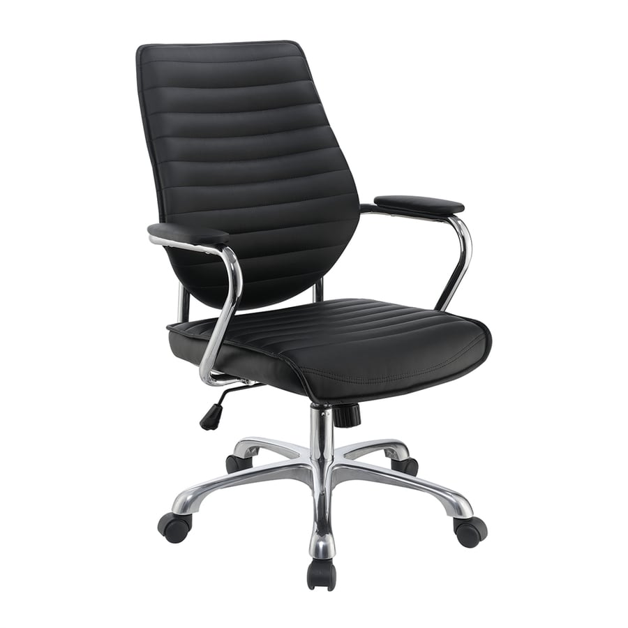 Shop scott living black contemporary desk chair at for Contemporary office chairs modern