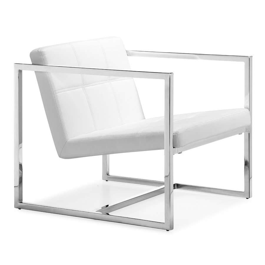 Zuo Modern Carbon Modern White Faux Leather Accent Chair