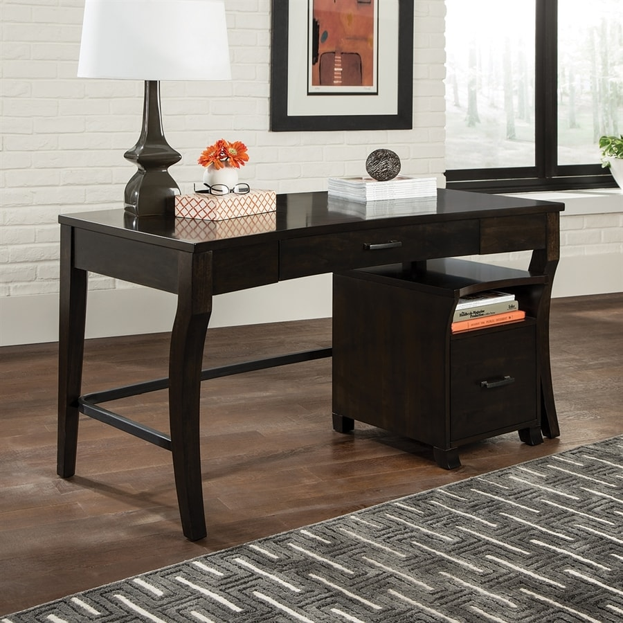 scott living contemporary smokey black writing desk - Black Writing Desk