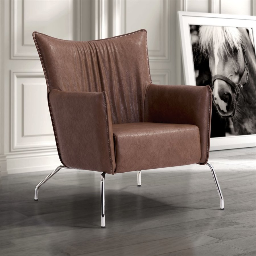 Zuo Modern Ostend Casual Saddle Brown Faux Leather Club Chair
