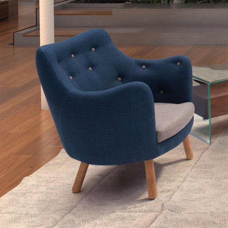 Zuo Modern Liege Midcentury Cobalt Blue/Gray Club Chair