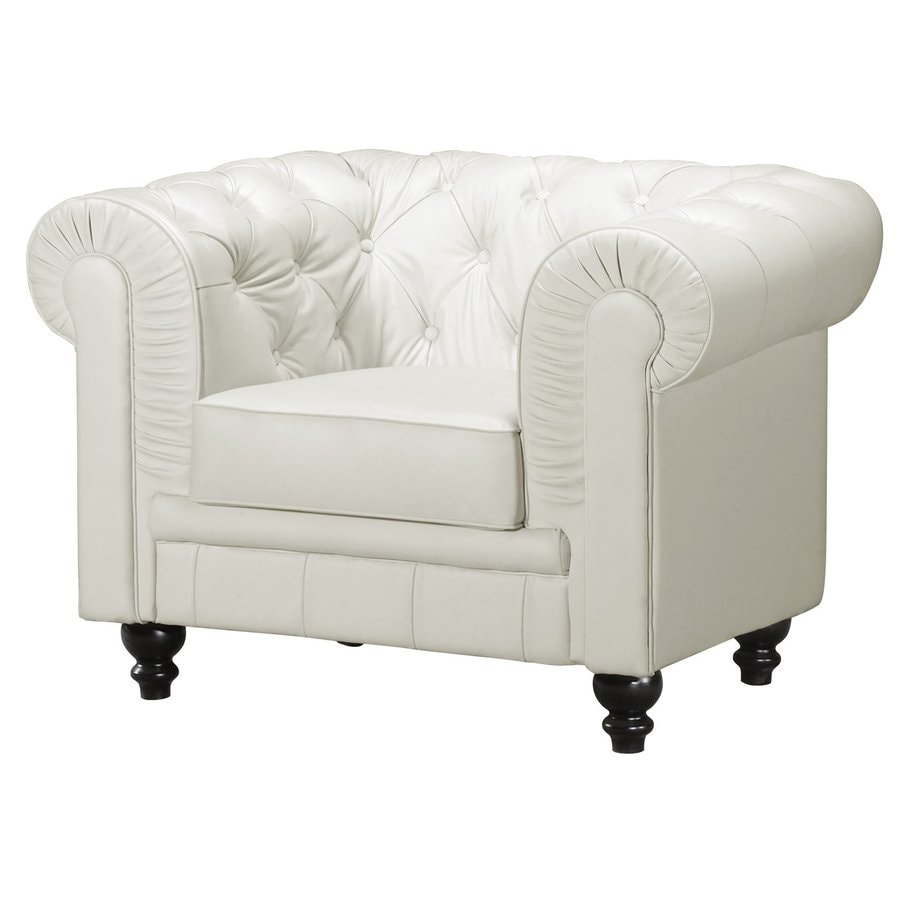 White chesterfield chair - Zuo Modern Aristocrat Casual White Faux Leather Chesterfield Chair
