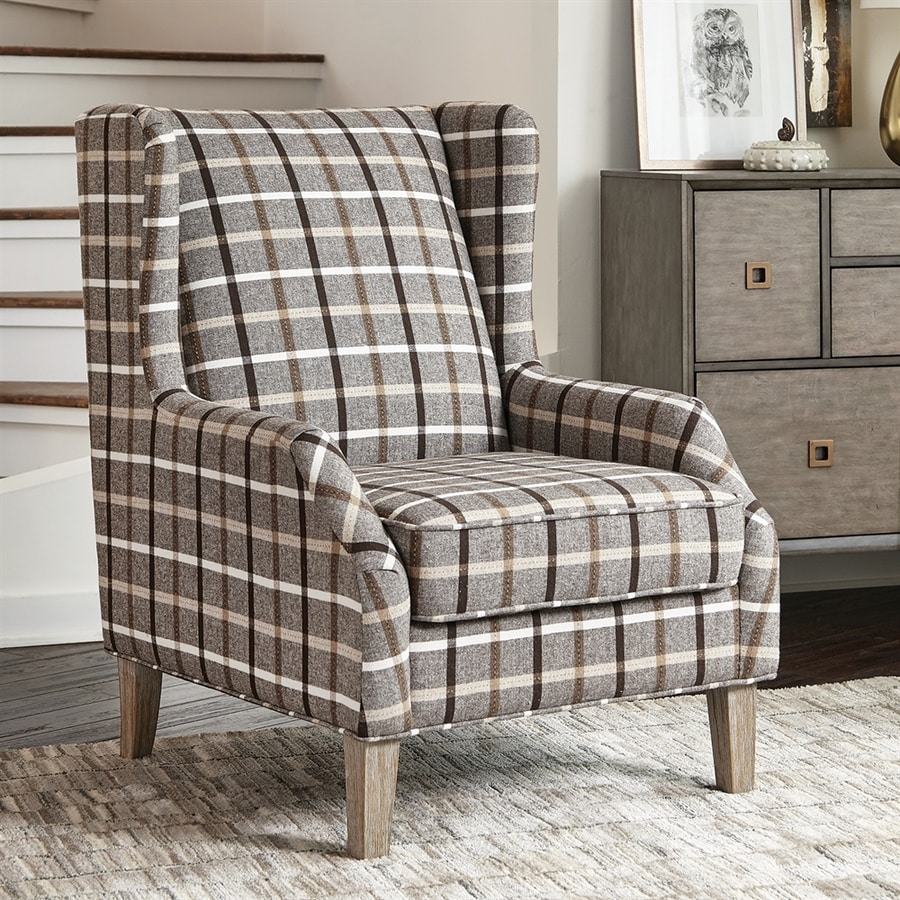 Gray And Brown Accent Chair High Back: Scott Living Rustic Neutral Brown/Weathered Gray Accent