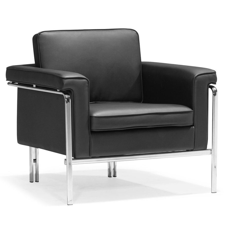 Zuo Modern Singular Casual Black Faux Leather Club Chair