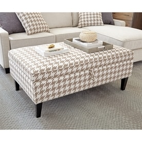 Scott Living Casual Beige/White Storage Ottoman