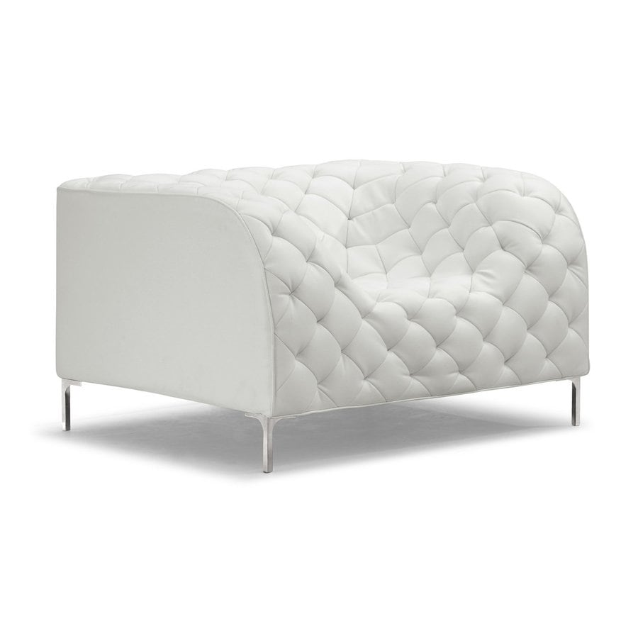 Zuo Modern Providence Eclectic White Faux Leather Accent Chair