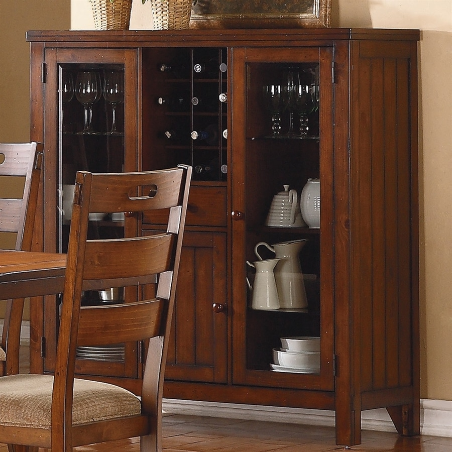Kitchen Lowes Kitchen Islands For Provide Dining And: Homelegance Clayton Dark Oak China Cabinet With Wine