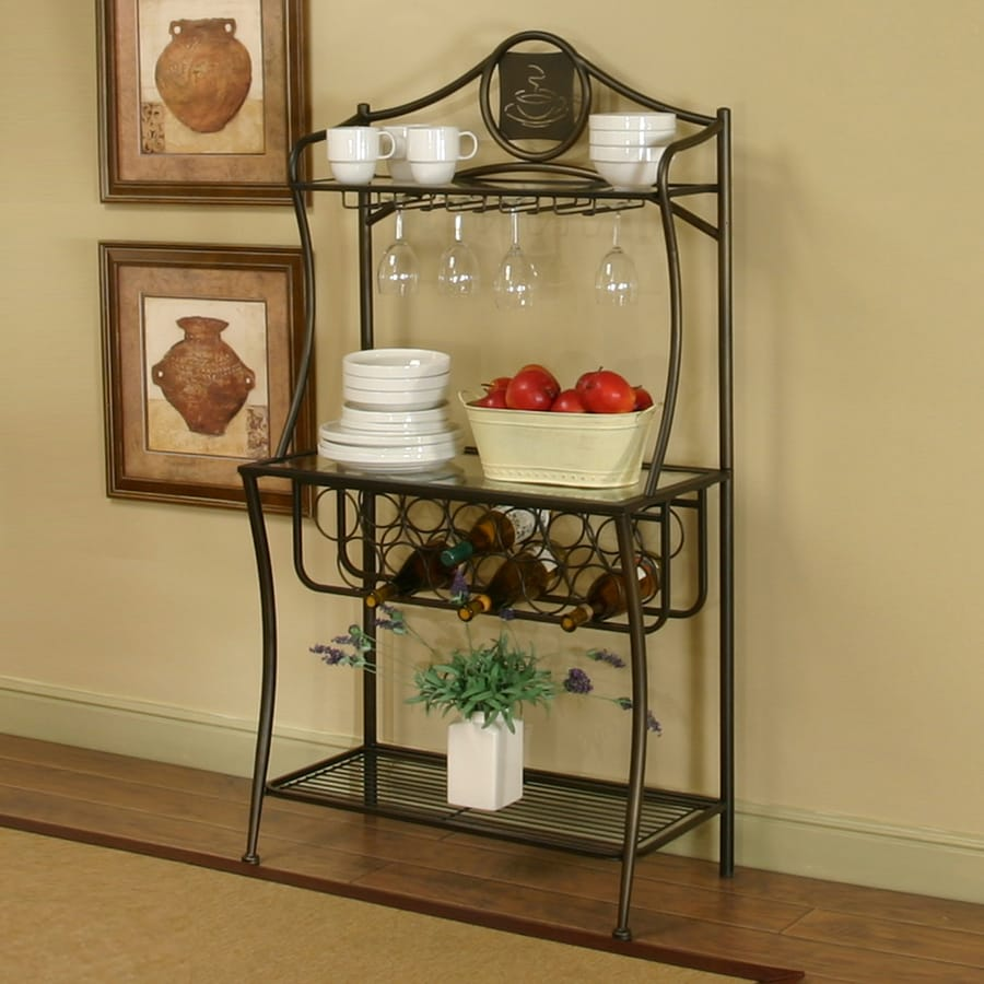 Sunset Trading Cappuccino Medium Brown Metal Bakers Rack With Wine Storage At Lowes.com