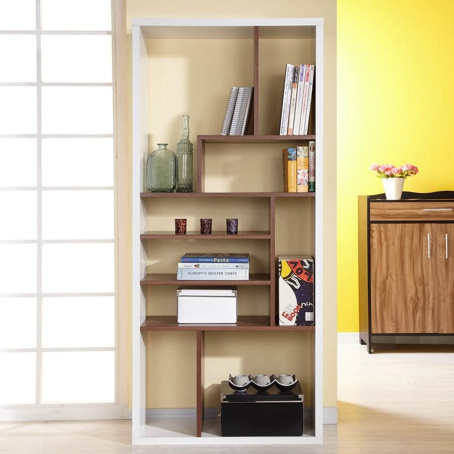 Enitial Lab Amari Walnut/White 8-Shelf Bookcase