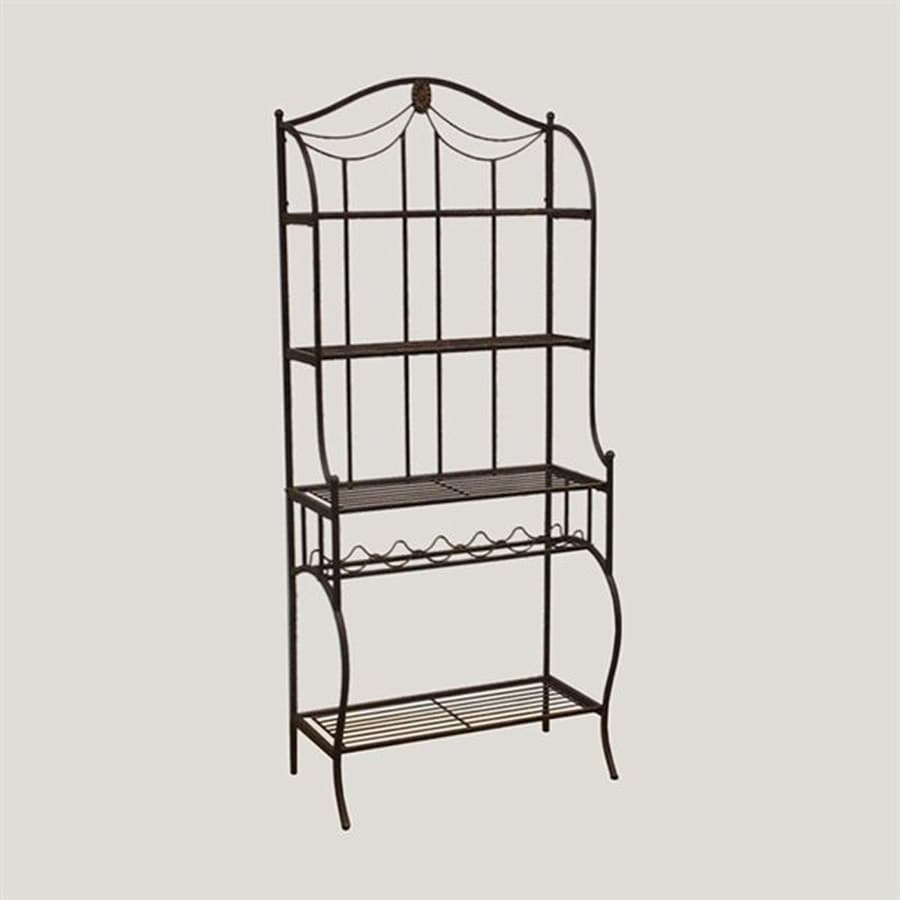 Shop Hillsdale Furniture Camelot Black Gold Metal Bakers Rack With Wine Storage At Lowes.com