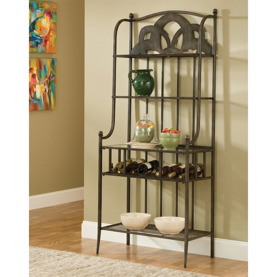 Hillsdale Furniture Marsala Grey With Brown Rub Metal Bakers Rack With Wine Storage At Lowes.com