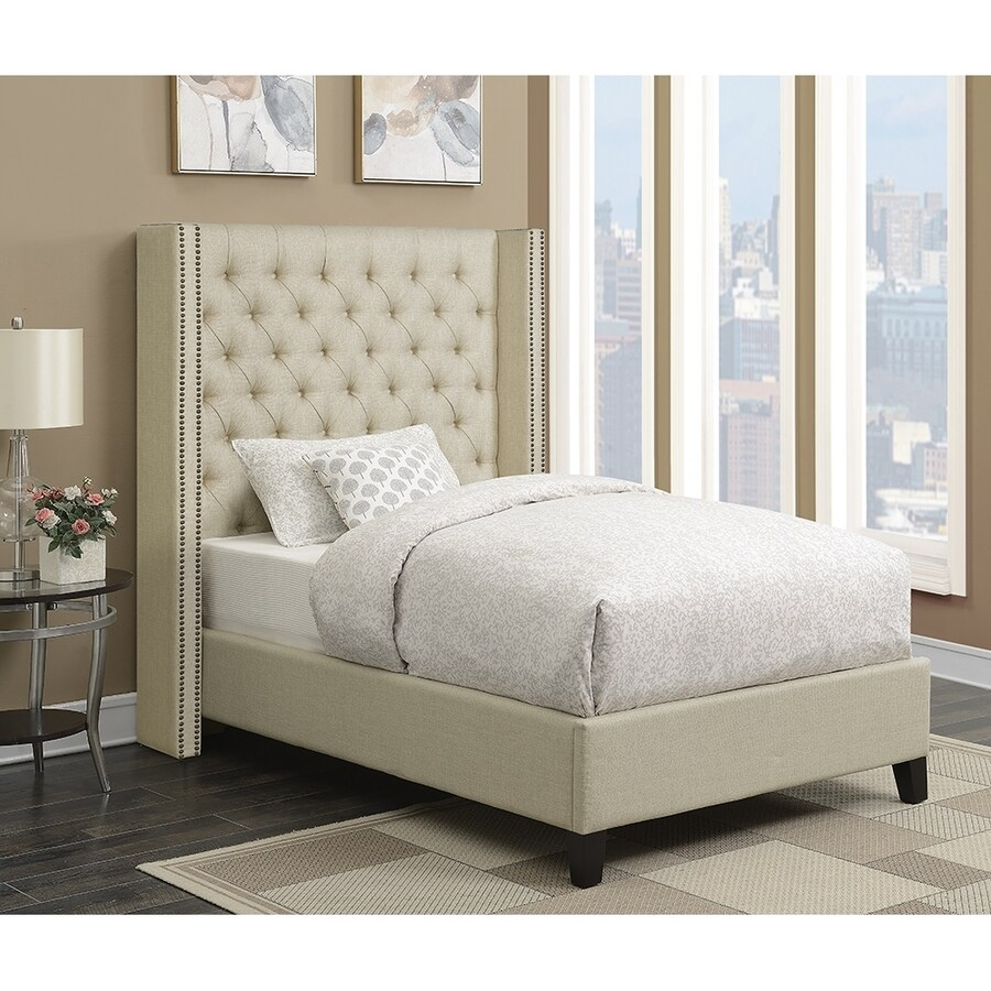 Shop scott living beige queen upholstered bed at for L furniture warehouse queen
