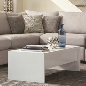 Scott Living Glossy White Wood Rectangular Coffee Table