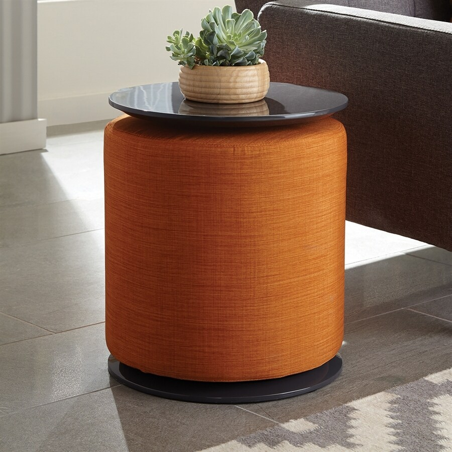 Exceptional Scott Living Orange/High Gloss Grey Round End Table