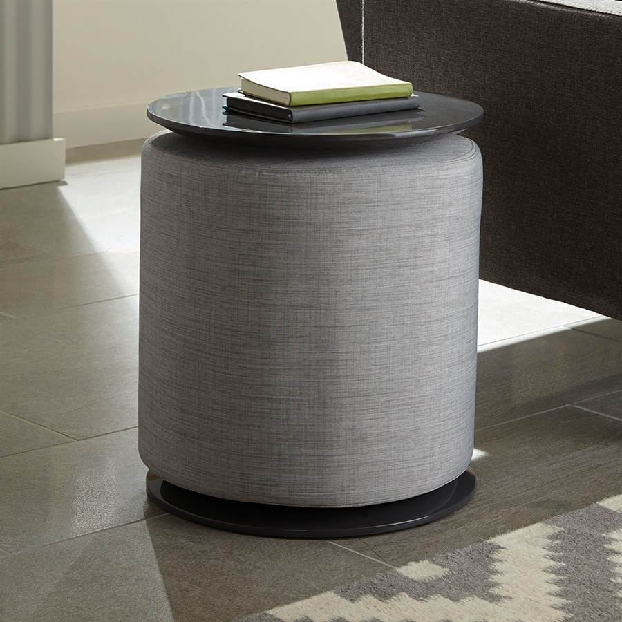 Scott Living Light Grey/High Gloss Grey Round End Table
