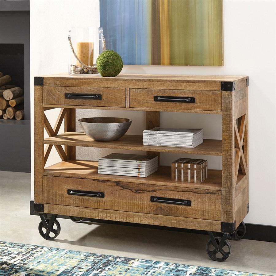 shop scott living natural rough mango wood industrial console table at. Black Bedroom Furniture Sets. Home Design Ideas