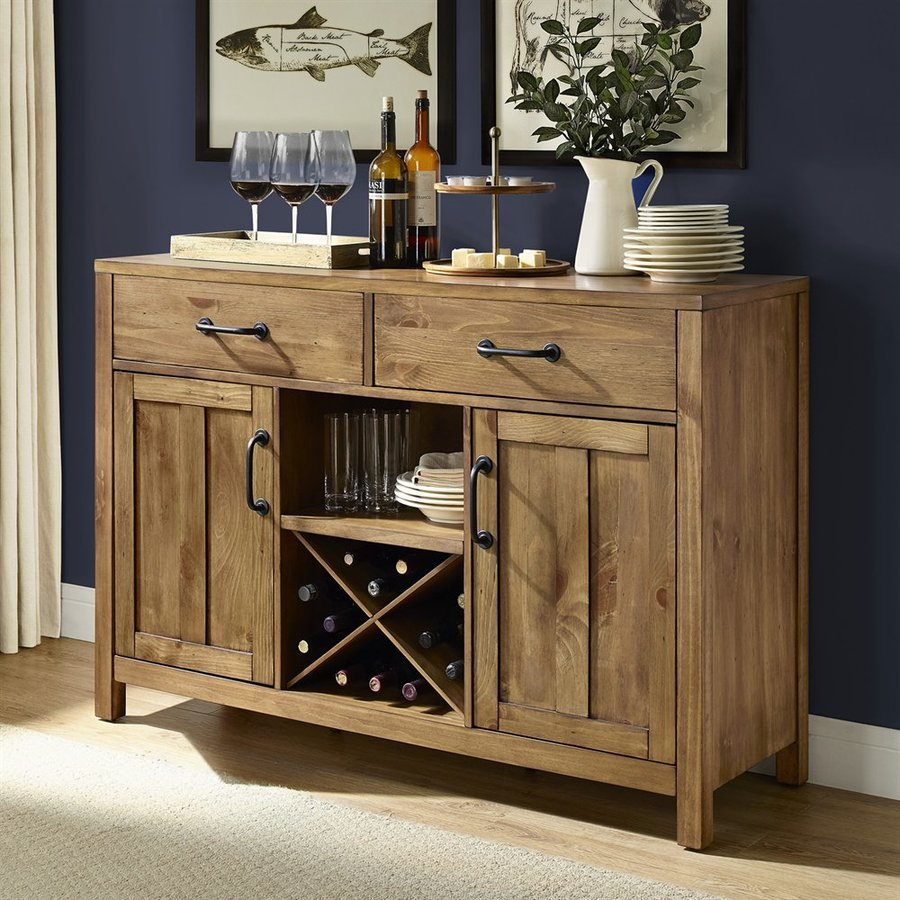 Crosley Roots Rack Industrial Kitchen Cart In Natural: Shop Crosley Furniture Roots Natural Sideboard With Wine