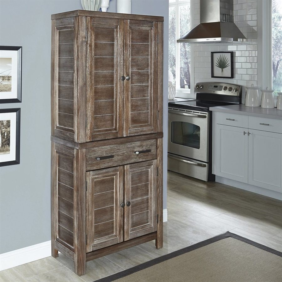 Home Styles 30-in W x 72-in H x 16-in D Aged Barnside Poplar Shaker Door And Drawer Pantry Cabinet