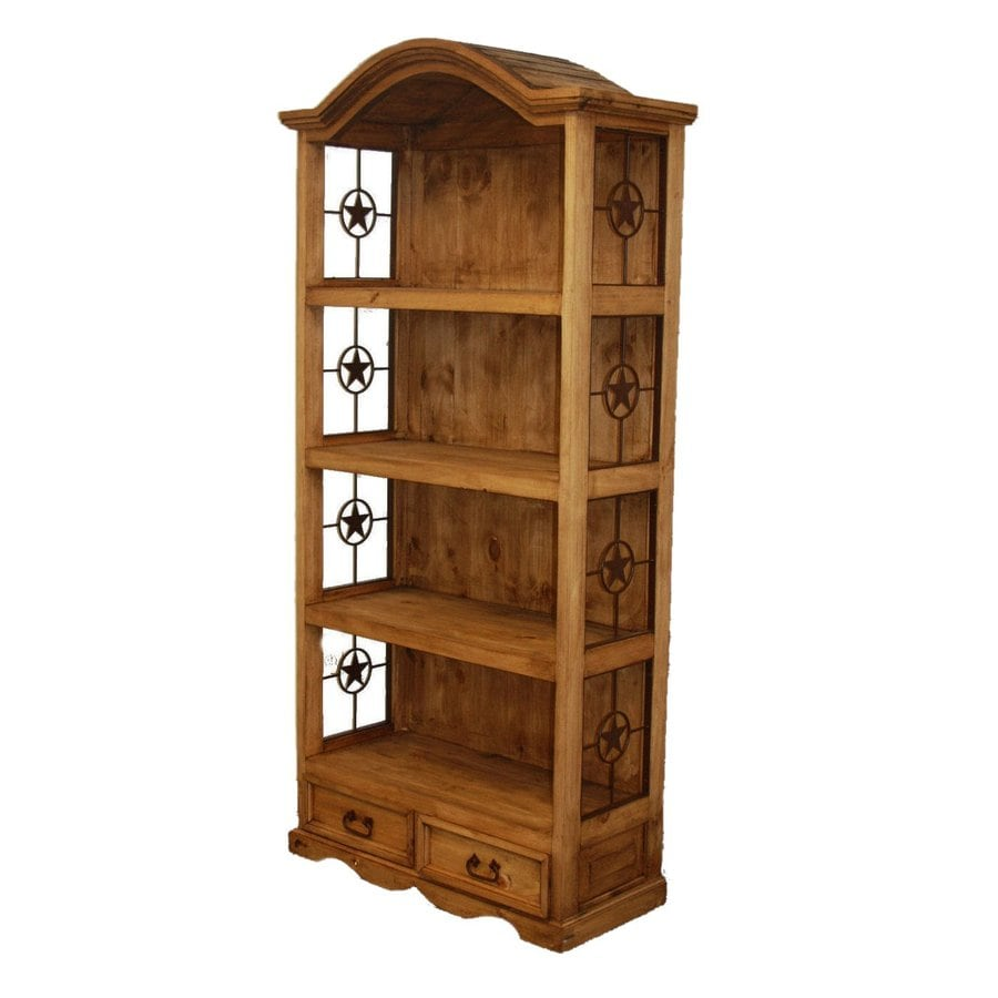 Million Dollar Rustic Metal Star Natural Wood 4-Shelf Bookcase