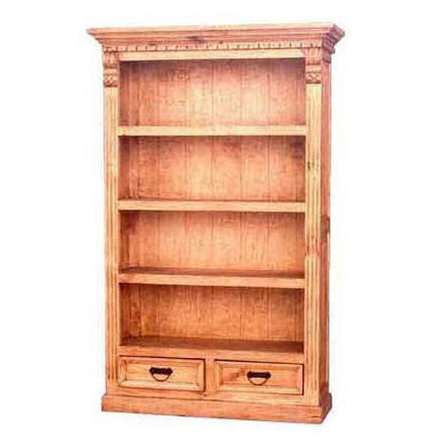 Million Dollar Rustic Natural Wood 4-Shelf Bookcase