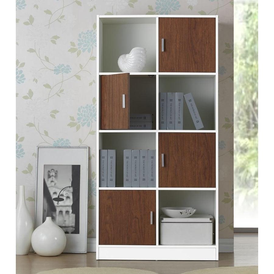 Baxton Studio Chateau White Walnut 4 Shelf Bookcase