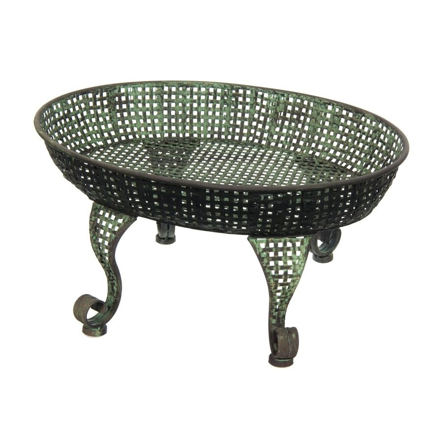 Oriental Furniture 10.25-in Copper Green Patina Indoor/Outdoor Oval Cast Iron Plant Stand