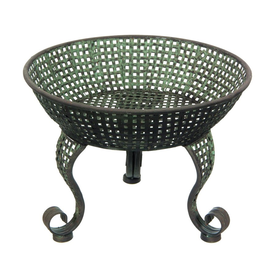 Oriental Furniture 10.75-in Copper Green Patina Indoor/Outdoor Round Cast Iron Plant Stand